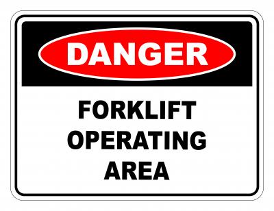 Danger Forklift Operating Area Safety Sign