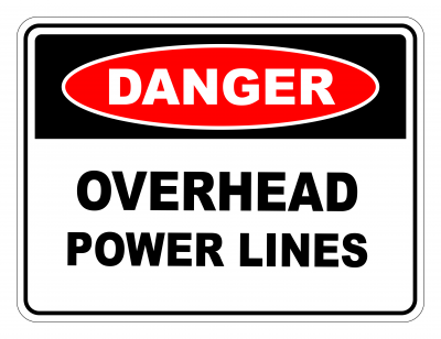 Danger Overhead Power Lines Safety Sign