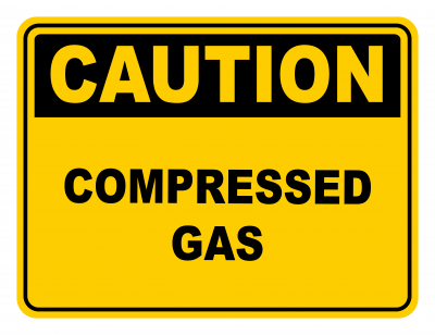 Compressed Gas Warning Caution Safety Sign