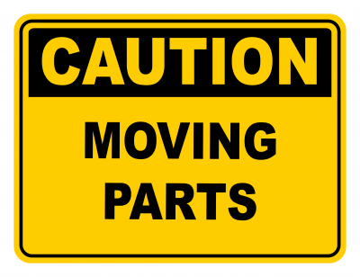 Moving Parts Warning Caution Safety Sign