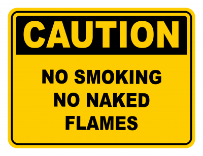 No Smoking No Naked Flames Warning Caution Safety Sign