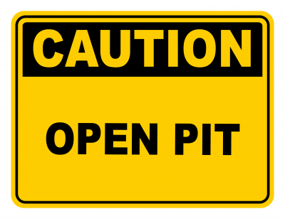 Open Pit Warning Caution Safety Sign