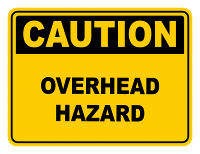 Overhead Hazard Warning Caution Safety Sign