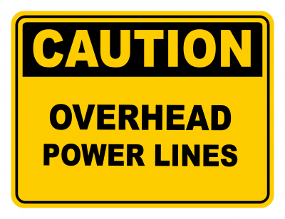Overhead Power Lines Warning Caution Safety Sign