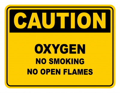 Oxygen No Smoking No Open Flames Warning Caution Safety Sign