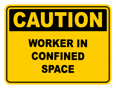 Worker In Confined Space Warning Caution Safety Sign