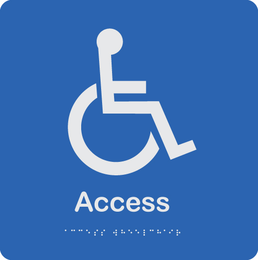 blue-and-white-plastic-accessible-access-sign