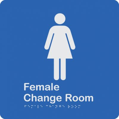 blue-and-white-plastic-female-change-room-sign